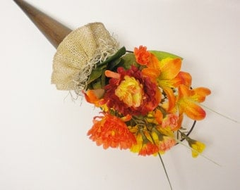 Flowers in Rusty Metal Cone Hanger, Primitive Flowers, Fall Decor, Flower Arrangements