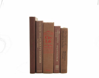Natural Decorative Books, Brown Books, CHocolate Old Book Set, Vintage Books, Books for decoration,  Book Collection, Interior Design, BOoks