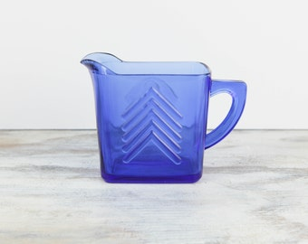 Vintage Creamer, Chevron Pattern, Cobalt Blue Glass by Hazel Atlas