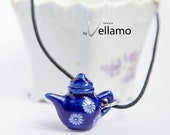 Delicate blue teapot / coffee pot pendant, porcelain, fashion pendant and black chord necklace, small teapot with white flowers pattern