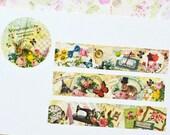Designer Custom masking tape - Limited Edition Vintage life Retro Life Collage item Rose Clock Eiffel Tower 1 ROLL