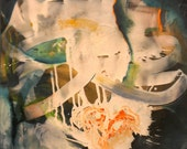 "Take 50% Off! Use promo code 50WAYS. BLUE-Original Painting on 48"" x 48"" Canvas Acrylic Oil Layered Blue Turquoise Cream Green Orange"