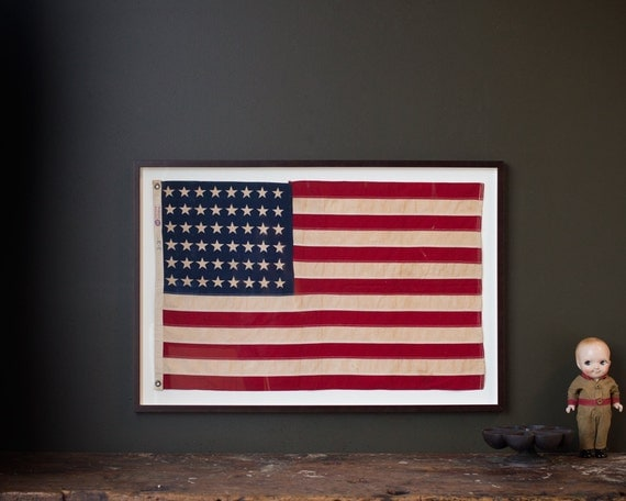 Vintage American Flag 1940 S Framed Original 48 Star