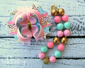 Bow & Necklace Set. Light Pink, Aqua, Gold Birthday Bow and Necklace Set. Stacked, Layered Bow. Chunky Beaded Necklace. Gum Ball Necklace.