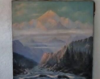 Original Oil Painting Mt McKinley Denali Alaska by Olaf Johansson Antique Oil Painting on Canvas Landscape Painting