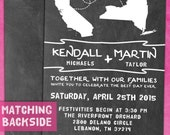 Chalkboard Wedding Invitation - States / Countries (Printable)