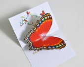 Pop up Christmas Butterfly Card  Colorful Butterfly Christmas Card 3D Red and Gold Butterfly Card