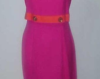 60's Dress-Linen Fuchsia & Tangerine /Vintage Mid Century Dress/ Summer Wiggle Dress  Sz 8