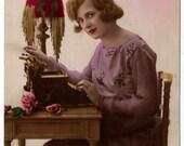 Postcard of Star (Sun) Typewriter with Pretty Girl