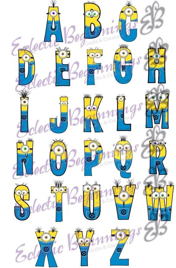 Alphabet PNG Digital File, Diy Print Clip Art-Minions