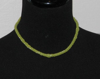 TWISTED MULTI STRAND Necklace // Vintage 70's Lime Green Glass Bead Necklace Choker 80's