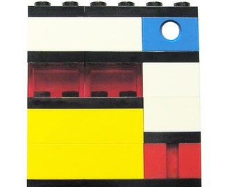 Collectible brooch pin  Model 3 - made from LEGO (R) bricks - MONDRIAN