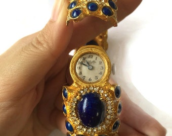 Vintage Kenneth Jay Lane K.J.L. for La Salle Lapis Lazuli and Rhinestone Watch Bangle