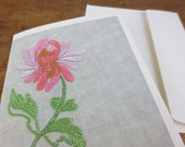 Blank Greeting Card / Vintage Pink Embroidered Flower Print / Sleeved A2 Size with Envelope