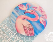 Flamingo Fabric Badge, Large Badge, Pin Badge, Fabric Covered Button, Mothers Day Gift
