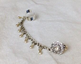 Ear cuff chain silver teardrop dangle gypsy post earring