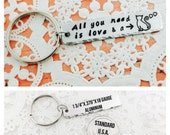 STORE CLOSING SALE All You Need Is Love And A Cat, Hand Stamped Keychain, Cat Mom, Cat Dad, Cat Keychain, Cat Gift, Cat Owner