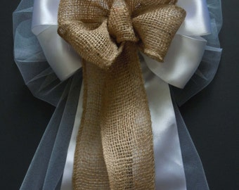 Shabby Chic Burlap and white Wedding Pew Bow Rustic Burlap and white tulle Wedding Bow Burlap Pew Bow Burlap Wedding Ceremony Decor bow