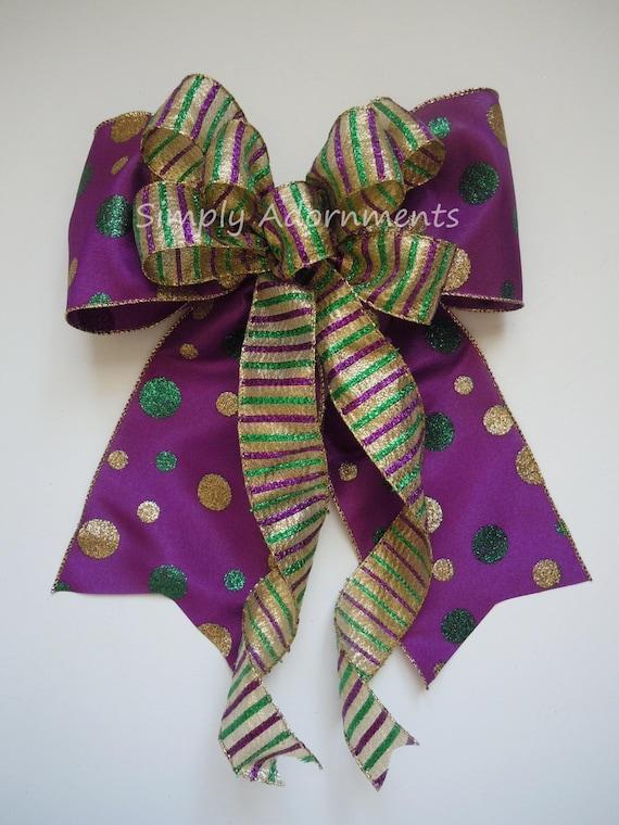 Mardi Gras Christmas Wreath Bow Mardi Gras Christmas swag door Bow Wedding Pew Bow Purple Gold Green Bow Mardi Gras Christmas Tree Bow