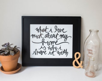 SALE Typography Inspirational Print:  What I love most about my home is who I share it with