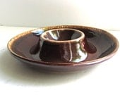 Mid Century Serving Bowl Brown Drip Glaze Kathy Kale Pottery