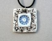 Square Ceramic Pendant,Jewelry , Blue And White Flower  Pendant , Boho Necklace