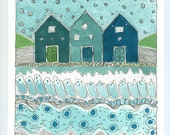 Sea Foam Houses , Seascape Painting ,  Watercolor Painting , Wall Art