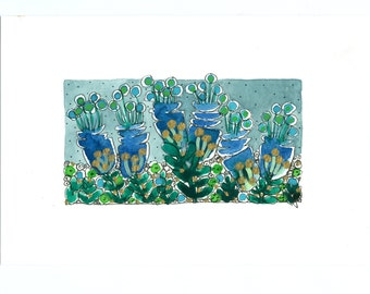"""Wall Art ,"""" Blue Flowers  In The Field  """" ,  Blue Green And Gold"""