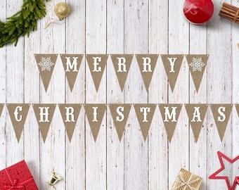Diy christmas banner etsy merry christmas banner instant download printable christmas burlap snowflake diy solutioingenieria Choice Image