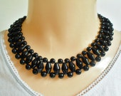 Black Bead Choker Necklace, Vintage Elegant Goth Mourning Glass Beaded Necklace, Round Smooth Oblong Bicone Shape Polished Stone Beads