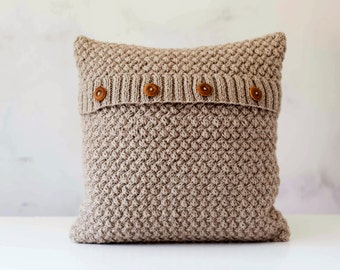 Knit pillow cover - beige knitted chunky pillow - minimalistic style knit pillow cover - hand knitted cushion case 0290