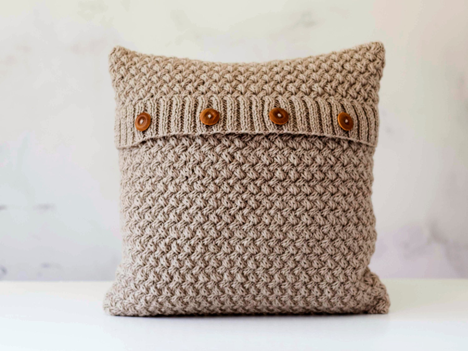 Chunky Knit Pillow Pattern : Knit pillow cover beige knitted chunky pillow minimalistic