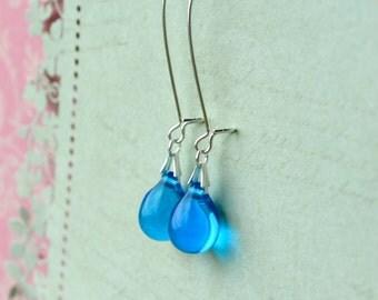 Blue Drop Earrings, Blue Glass Earrings, Sky Blue Earrings, Tear Drop Earrings, Blue Bridesmaid Jewelry, Glass Dangle Earrings UK Sellers