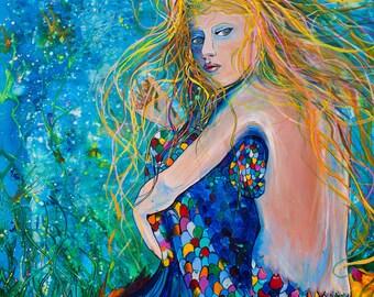 Mermaid Depth-Art by Jen Callahan Tile,Cuttingboard,Paper Print