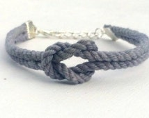 Adjustable Nautical Twisted Rope Knot Bracelet Grey Tie The Knot Bracelet
