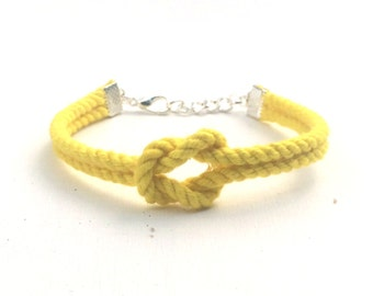 Adjustable Nautical Twisted Rope Knot Bracelet Yellow Tie The Knot Bracelet