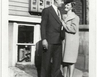 Old Photo Affectionate Couple Photographers Shadow 1940s Photograph snapshot vintage woman man