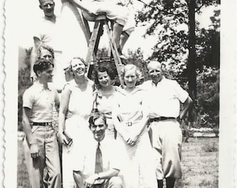 Old Photo Group Women Men Posing with Ladder 1930s Photograph snapshot vintage