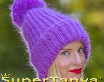 Made to order hand knitted mohair hat, thick and fuzzy warn winter beanie in purple by SuperTanya