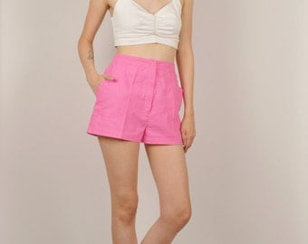 80's Hot Pink High Waist Summer Shorts