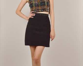 Black Suede High Waist Pencil Skirt