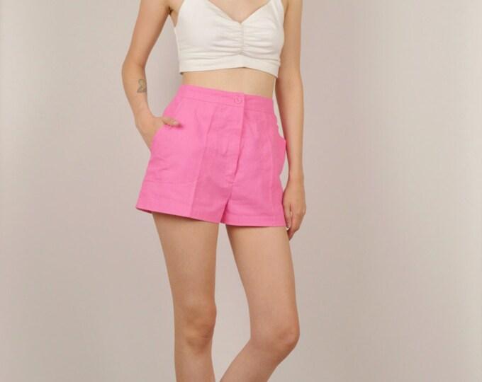80's Hot Pink High Waist Summer Shorts