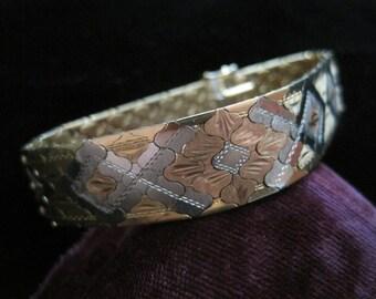 18k Venetian Bracelet Rose Gold Eighteen Karat Yellow White 750 Solid Heavy Statement Artisan Piece Scaled