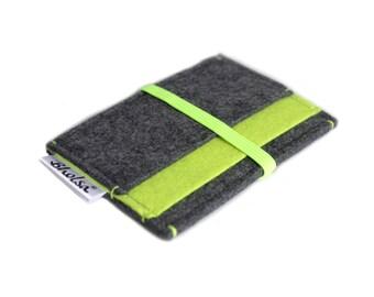 Little Wallet, Card Organizer, Card Wallet, Felt Wallet, Small Wallet, Coin wallet- Charcoal Grey & NEON Yellow