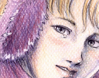 Original Drawing ACEO Winter Girl