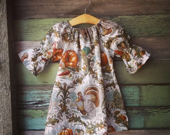 Girls Thanksgiving Dress,Turkey Dress, Fall Toile Dress, pumpkin, coming home outfit, toddler, sizes Newborn to 11/12, rustic