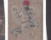 Bastet - Ancient Egyptian Art Nouveau - 8x10 Print - Free shipping