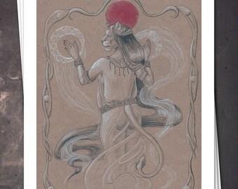 Bastet - Ancient Egyptian Art Nouveau - 8x10 Print - Free shipping