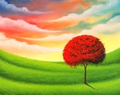 Colorful Contemporary Artwork, Original Abstract Tree Art Print, Canvas Print of Original Oil Painting, Impasto Modern Art Red Tree Painting