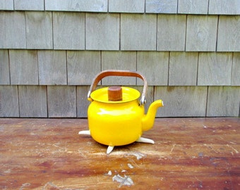 SALE Vintage Yellow Enamel and Teak Tea Kettle or Teapot